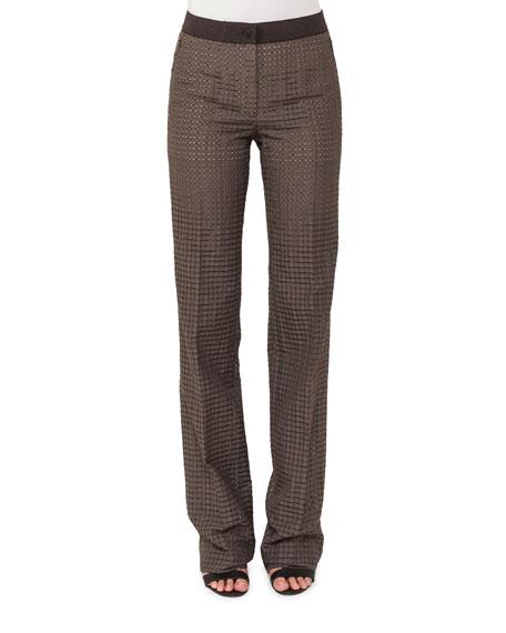 Straight-Leg Ajouré Silk-Cotton Pants