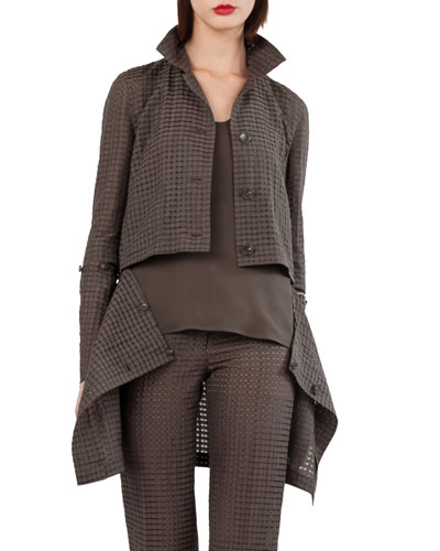 Button-Front Ajouré Silk Cotton Jacket with Detachable Hem