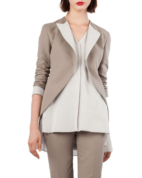 Open-Front Cotton-Silk Tuxedo Jacket