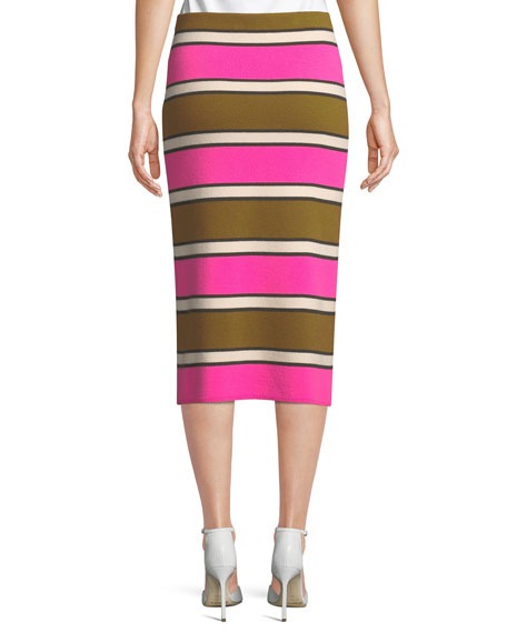 Striped Cashmere Midi Pencil Skirt
