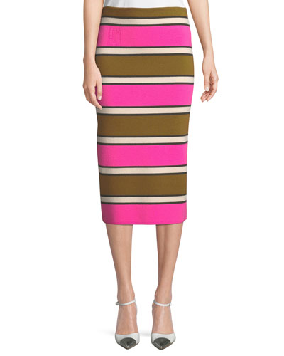 Striped Cashmere Midi Pencil Skirt