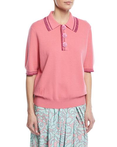 Short-Sleeve Metallic-Knit Polo Top w/ Flower Details