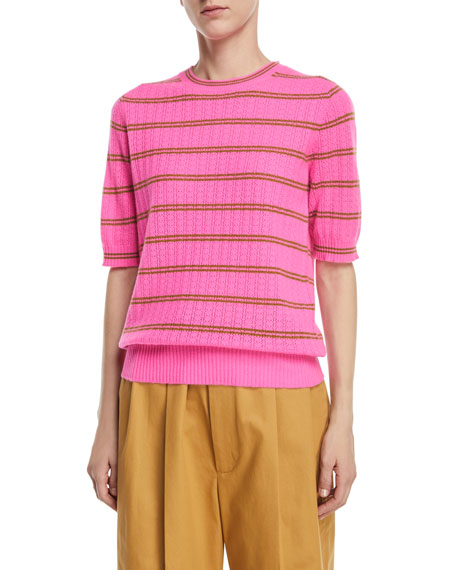 Striped Half-Sleeve Cashmere Sweater