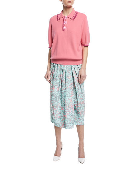 Draped Floral-Print Midi Skirt w/ Slit