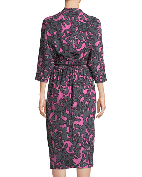 3/4 Dolman-Sleeve Damask-Print Belted Dress