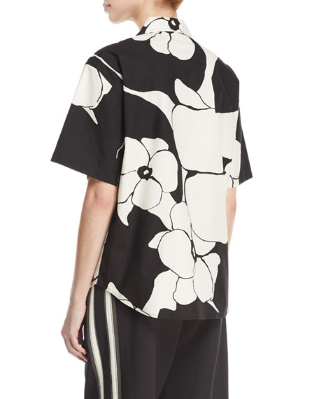 Oversized Abstract-Print Camp Shirt