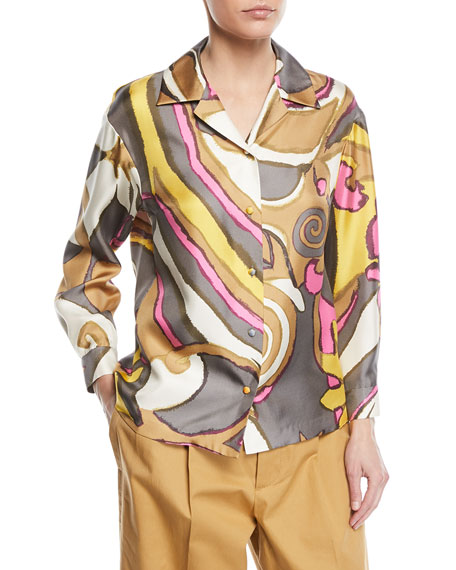 Swirl-Print Button-Down Silk Blouse