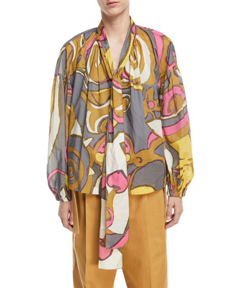 Abstract-Print Voile Tie-Neck Blouse