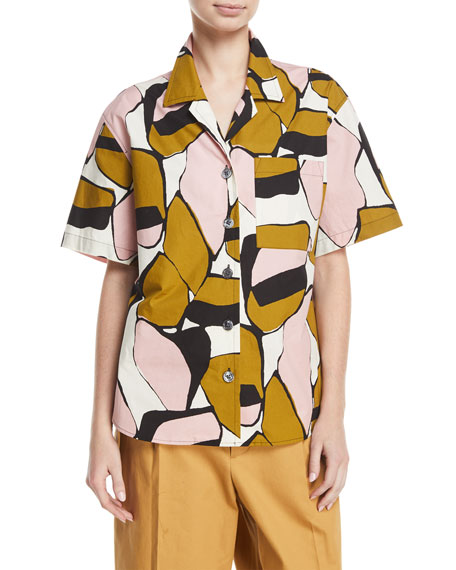 Oversized Abstract-Print Camp Shirt, Pink Pattern