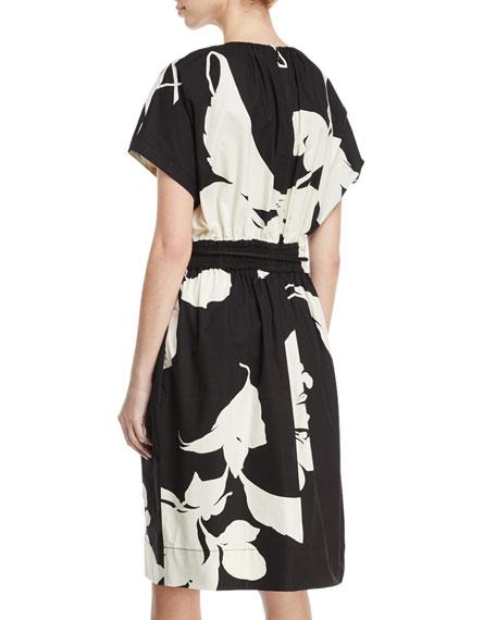 Bold Floral-Print Cap-Sleeve Dress