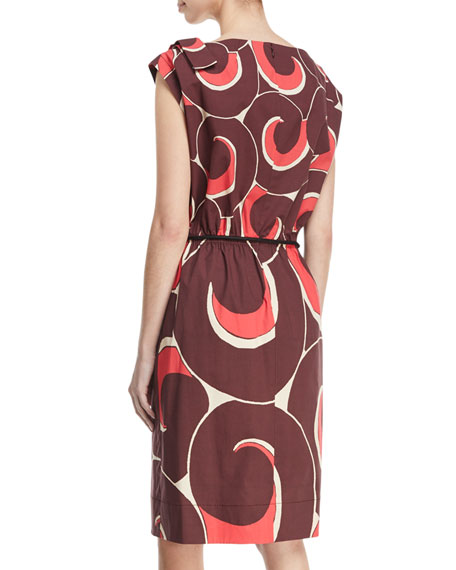 Cap-Sleeve Drawstring Abstract-Print Dress