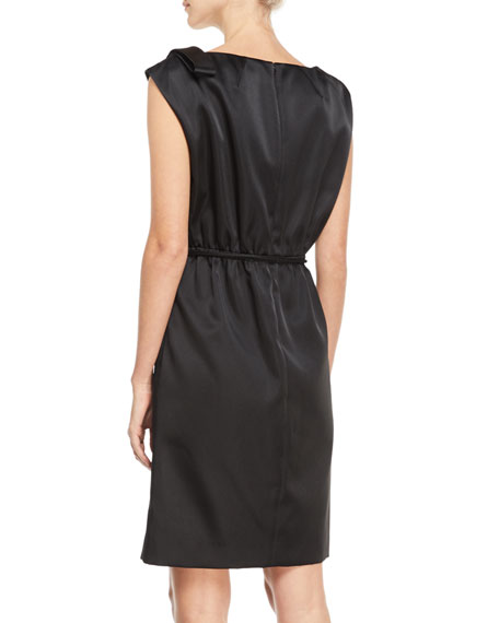 Cap-Sleeve Drawstring Satin Dress
