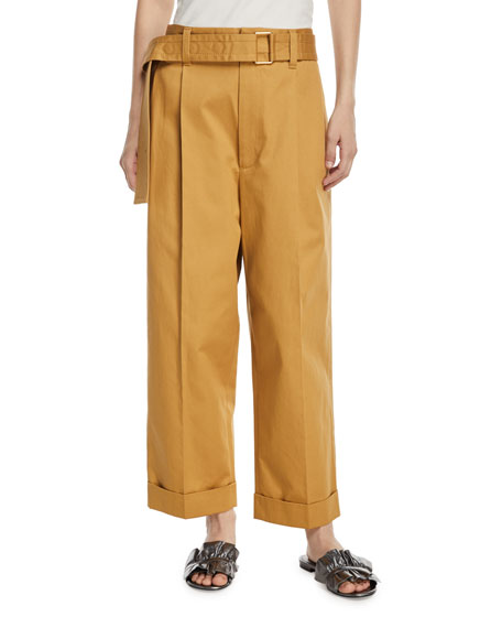 Cuffed Wide-Leg Pants w/Belt