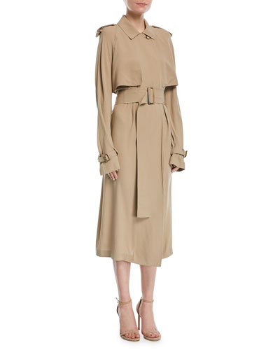 Silk Trench Dress with Belt