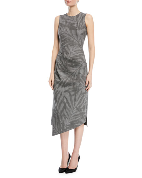 Leaf-Print Stretch-Wool Draped Sheath Dress