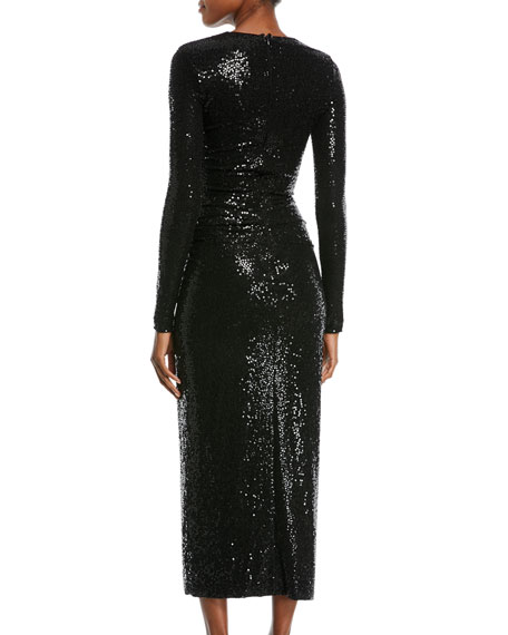 Sequined Cutout Long-Sleeve Cocktail Dress