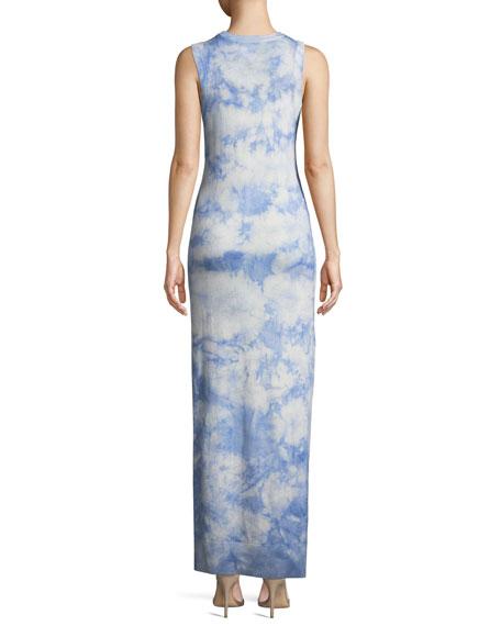Sleeveless Crewneck Tie-Dye Maxi Dress