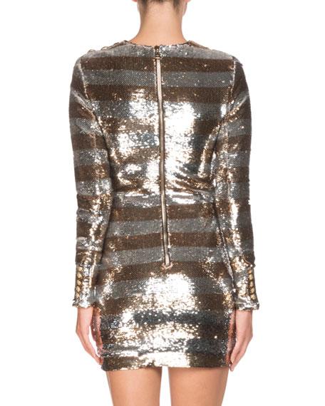 Long-Sleeve Sequin Striped Mini Dress