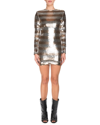 Long-Sleeve Sequin Striped Mini Dress