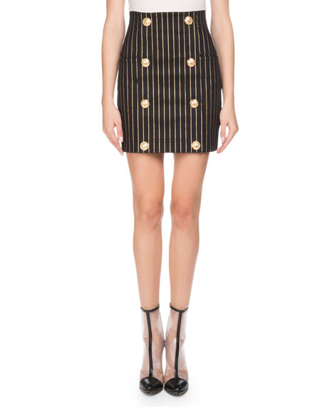 Metallic-Striped Mini Skirt