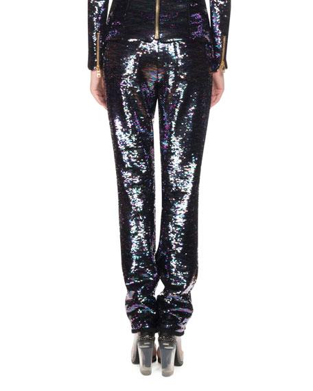 Oil Slick Sequined Straight-Leg Pants