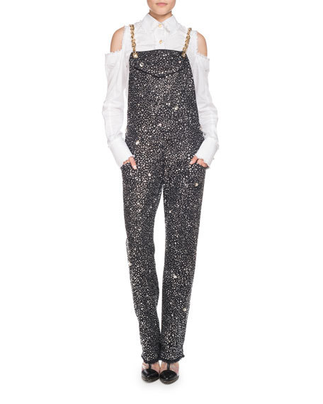 Gold-Chain Strap Beaded Crystal Overalls