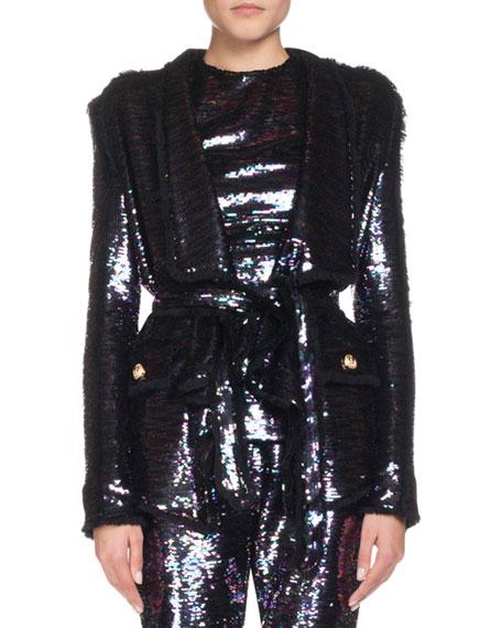 Wrap Waist Sequin Blazer