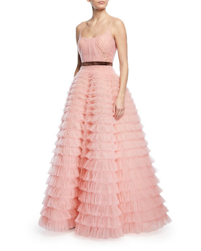 Sleeveless Tiered Ruffled Tulle Ball Gown