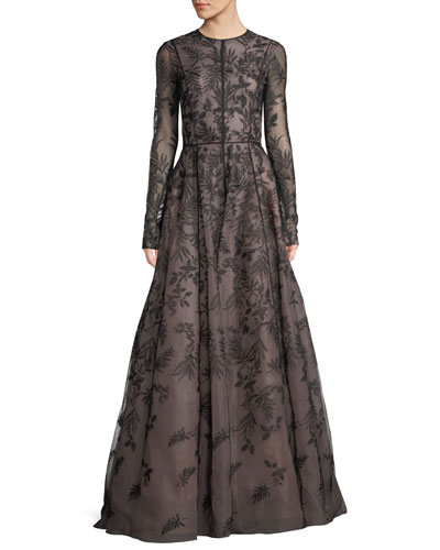 Long-Sleeve Floral-Lace Evening Gown
