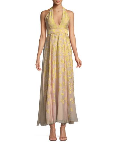 V-Neck Halter Sleeveless Silk Jacquard Gown