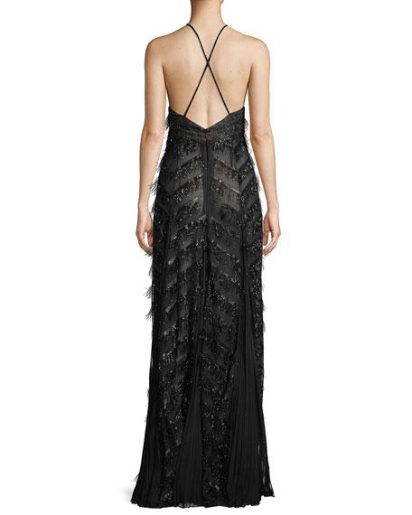 V-Neck Sleeveless Center-Slit Fringe Evening Gown