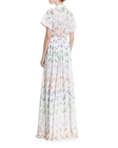 Huntington Drawstring-Waist Eyelet Long Dress