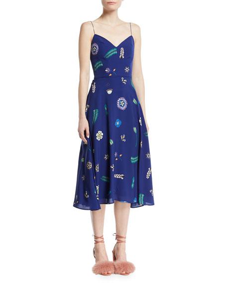Egremont Patterned V-Neck Sleeveless Fit-and-Flare Dress