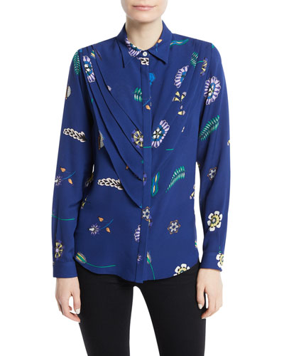 Waterford Button-Front Layered Silk Blouse