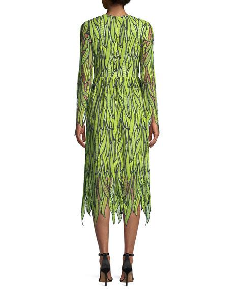 Chittenden Long-Sleeve Macramé Leaf Lace Cocktail Dress