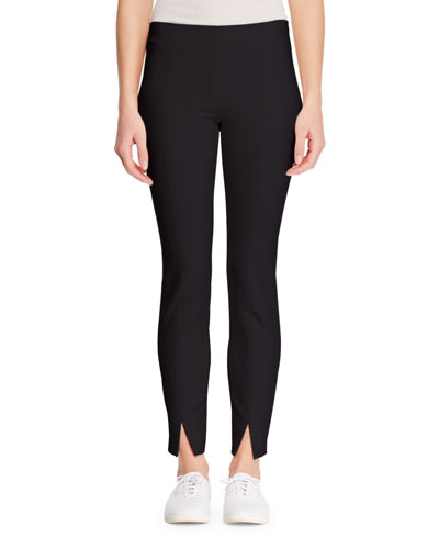 Sorocco Skinny-Leg Stretch-Wool Pants with Slit Hem