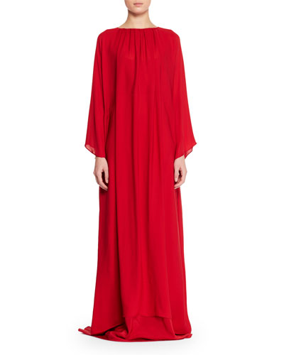 Nancy Long-Sleeve Silk Charmeuse Evening Gown