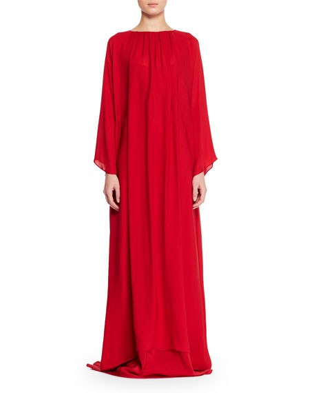 Nancy Long-Sleeve Silk Charmeuse Evening Gown