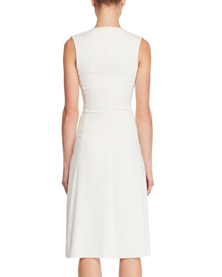 Franlan Deep-V Sleeveless Fitted Leather Dress