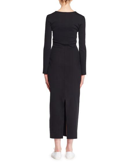 Ninoh V-Neck Long-Sleeve Knit Midi Dress