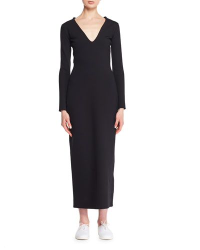 Ninoh V-Neck Long-Sleeve Knit Midi Dress
