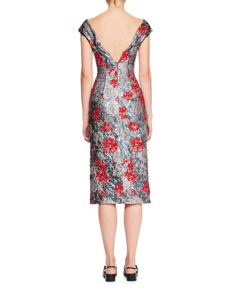 Off-the-Shoulder Floral-Brocade Pencil Cocktail Dress
