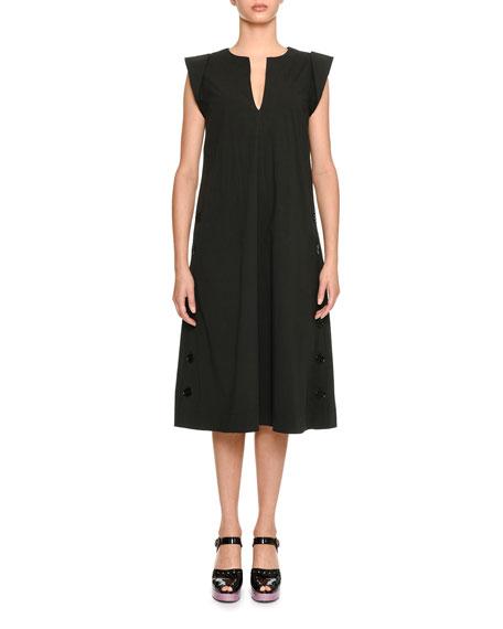 Split-Neck Poplin Popover Dress
