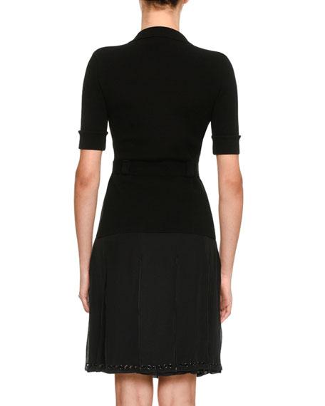 Knit Grommet-Trim Shirtdress