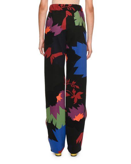 Graphic Leaf Neoprene Pants