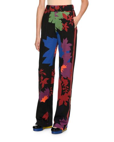 Graphic Leaf Neoprene Pants