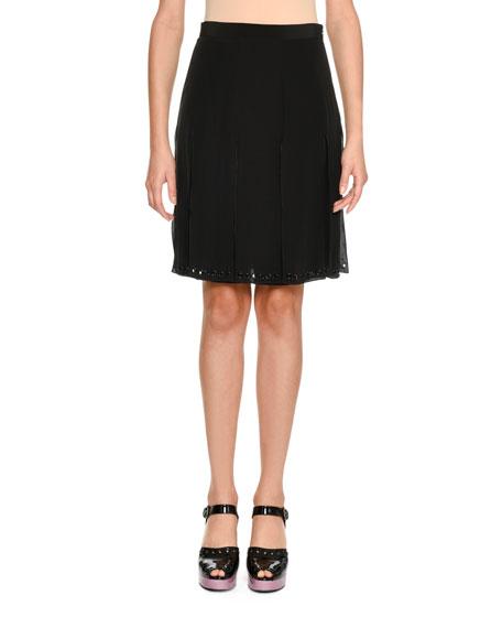 Grommet-Trim Silk Skirt