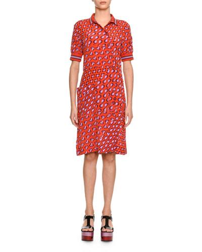 Short-Sleeve Asymmetric Silk Shirtdress