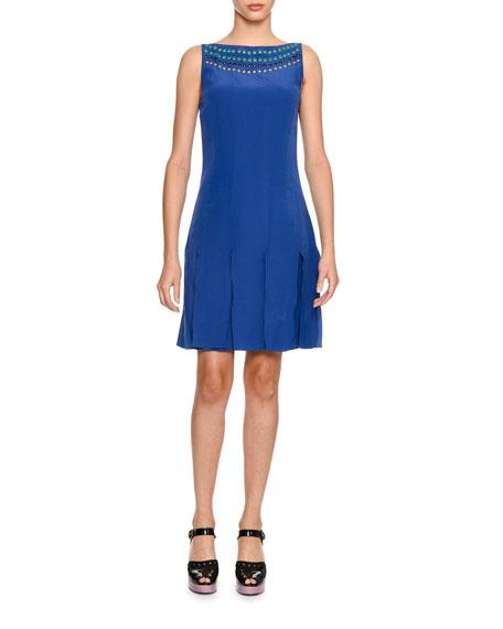 Sleeveless Grommet-Trim Silk Dress