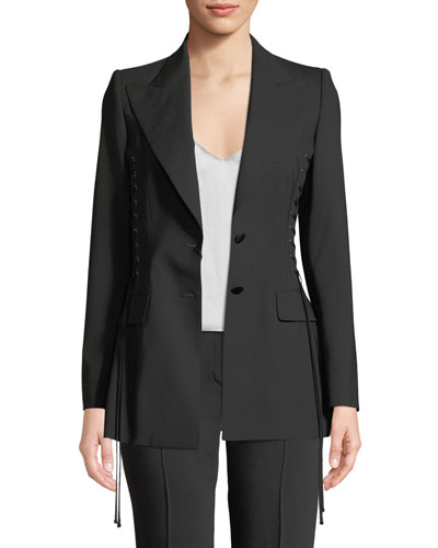 Single-Breasted Corset Side-Ties Wool Jacket